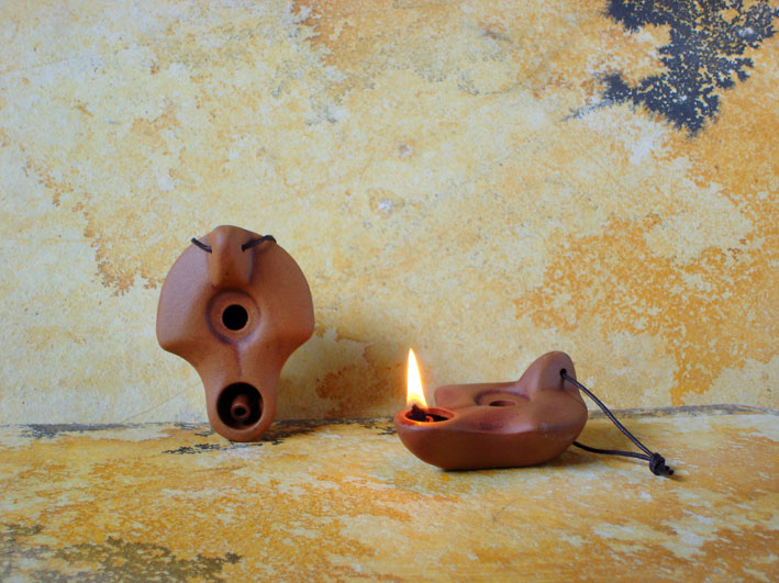 Ancient Ceramic Olive Oil Lamps Small Size Oil Lamps