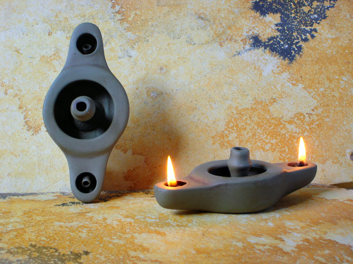 Ancient Ceramic Olive Oil Lamps Double Oil Lamps With Two